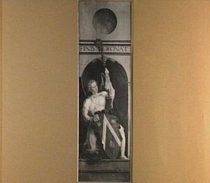 Geknielde engel met bisschopsstaf en schild met het wapen van Jacques Coene