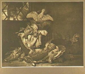 Kat besluipt een mand met duiven, in de voorgrond een buit van haas en gevogelte; rechts twee kippen