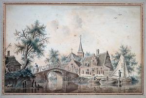 Dorp aan een rivier met een stenen brug en een kerkgebouw