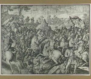 De nederlaag van Saul tegen de Filistijnen; links op de achtergrond: Saul stort zich in zijn zwaard (1 Samuël 31:4)