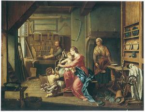 Interieur met de heilige familie, Johannes de Doper en Anna met een bord pap