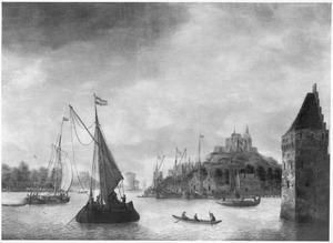 Riviergezicht met schepen bij een haven