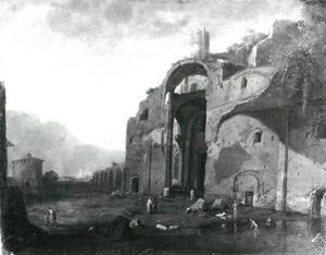 Landschap met de thermen van Diocletianus