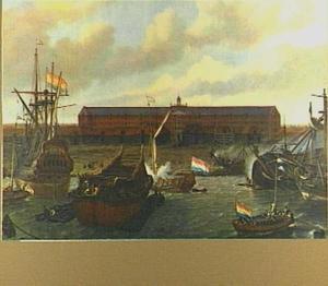 Het zeemagazijn en de scheepstimmerwerf van de VOC op het eiland Oosterburg bij Amsterdam