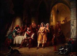 De koning van Spanje luisterend naar een zigeunerin die luit speelt