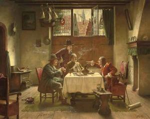 Rokende en drinkende mannen discussiërend aan een tafel
