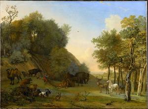 Bebost landschap met Orpheus zingend voor de dieren