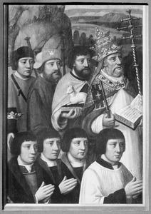 Vier stichtersportretten en hun patroonheiligen: HH. Petrus, Johannes de Doper, Jacobus Maior en Jodocus