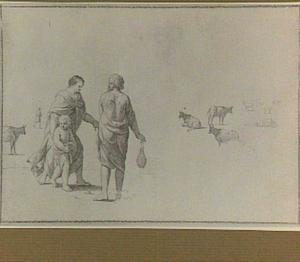Studie van de Heilige Familie, en koeien