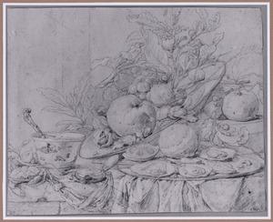 Stilleven met twee schalen met vruchten en oesters