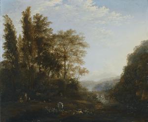 Boslandschap met herders en hun vee, een aquaduct in de verte
