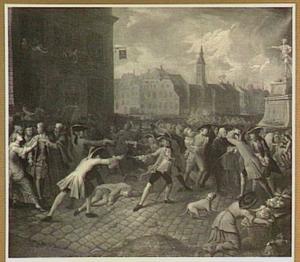 Gevecht van soldaten en burgers op het marktplein in een stad