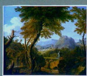 Zuidelijk landschap met rustende boeren op een rotsige rivieroever; in de verte een stad aan de voet van bergen
