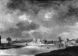 Rivierlandschap met molen en brug
