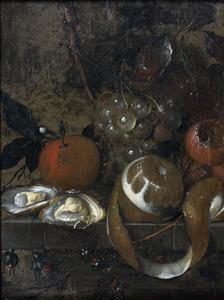 Stilleven van vruchten en oesters op een stenen plint