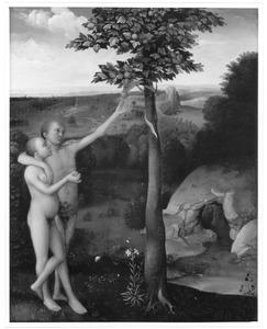 De zondeval: Eva verleidt Adam om de appel aan te nemen van de slang (Genesis 3:6)