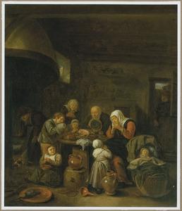 Interieur met een boerengezin in gebed voor de maaltijd