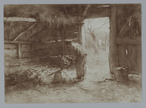 Houthakker in een stal