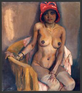 Zwarte vrouw met rode hoed