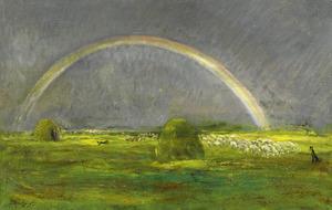 Akkerlandschap met een kudde en een regenboog