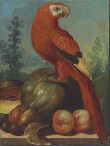 Stilleven met vruchten en een papegaai