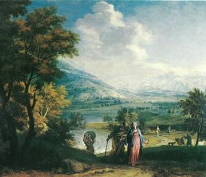 Weids panoramalandschap met Jozef en Maria op weg naar Bethlehem