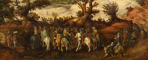Boslandschap met een groep soldaten te paard