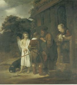 Tobias en de engel nemen afscheid van Tobit en Anna (Tobias 5:23-24)