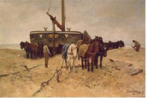 Bomschuit op het strand van Scheveningen