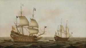 Frans oorlogsschip onder begeleiding van een Hollands schip op rustig water
