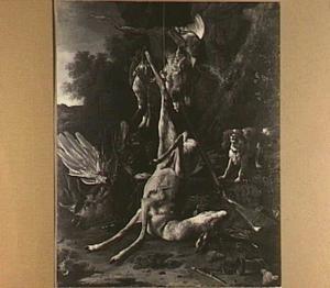 Jachtstilleven met hert, geweer, vogels en een keffende hond