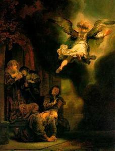 De engel Raphaël vertrekt van Tobias en zijn familie