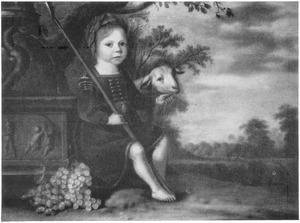 Portret van een jongentje als herder in een landschap