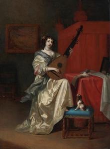 Jonge vrouw die op een Franse theorbe speelt in een interieur