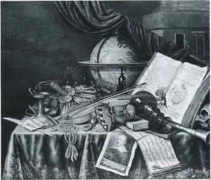 Vanitasstillleven met tazza, muziekinstrumenten, boeken en andere voorwerpen op een gedekte tafel