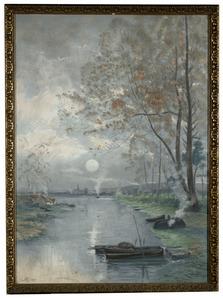 Hollands rivierlandschap bij maanlicht