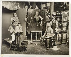 Martin Monnickendam aan het werk aan het portret van Louis de Vries als Hendrik IV