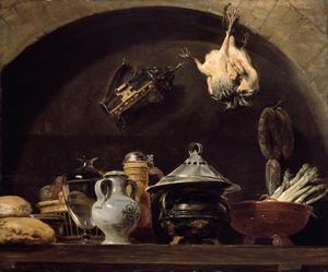 Keukenstilleven met keukengereedschap en levensmiddelen