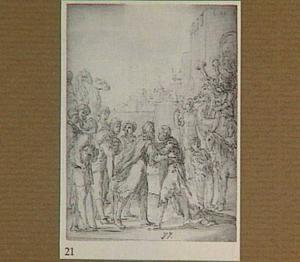 De ontmoeting van Mozes en Aäron (Exodus 4:27), op de achtergrond Aärons zonen die de trompetten bespelen (Numeri 10:8)
