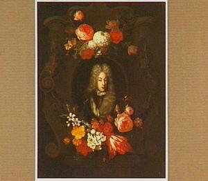 Portret van een adellijk persoon in een cartouche, omgeven door bloemen