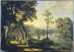 Zuidelijk landschap met wandelaars bij een rivier