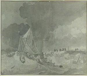 Schipbreuk voor een kust