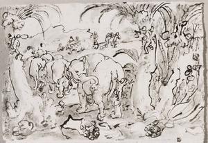 Troglodieten jagen op olifanten
