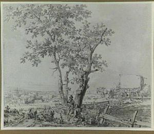 Landschap met schaapherders bij twee bomen en een hooiwagen