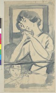 Vrouw met kind  op balkon