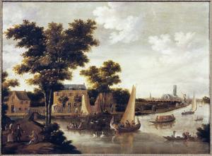 Gezicht op het Zwaenseiland aan de rivier de Rotte bij Rotterdam, in de achtergrond de Grote of Sint-Laurenskerk