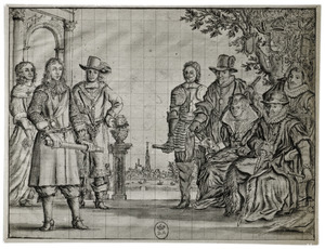 Portret van Willem III van Oranje-Nassau (1650-1702) met zijn voorouders