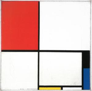 Composition with red, black, blue, and yellow