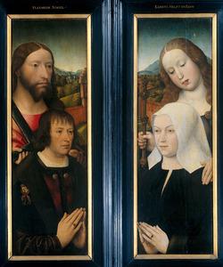 Thomas Isaacq, wapenkoning van het Gulden Vlies, getooid met het wapen van Philips de Schone, vergezeld door de H. Thomas; en zijn echtgenote vergezeld door de H. Margaretha