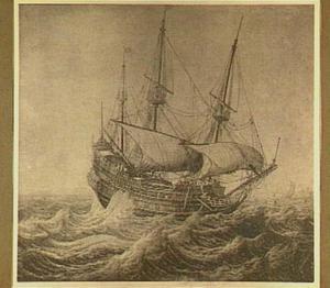 Driemaster op woelige zee